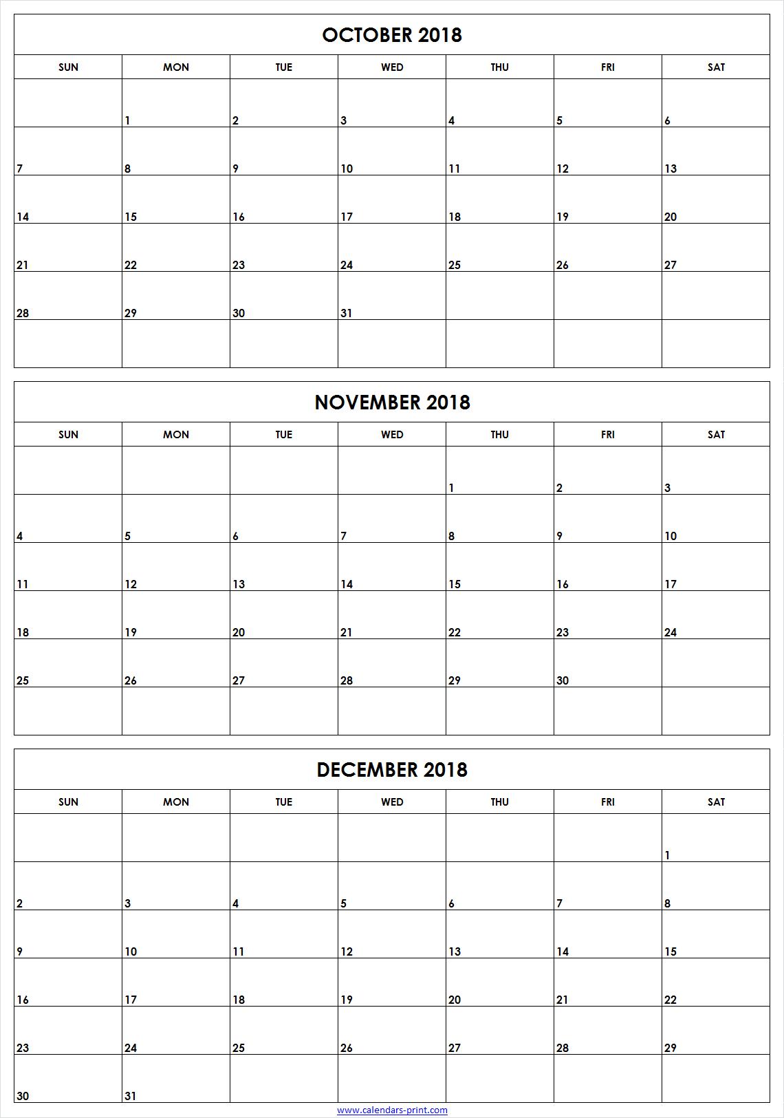 3 Monthly October November December 2018 Calendar | Editable Template pertaining to Free Printable 3 Month Calendar Template