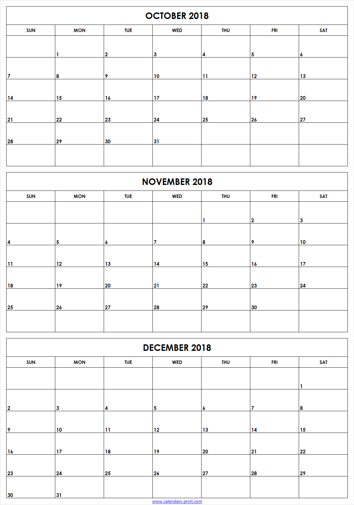 3 Monthly October November December 2018 Calendar | Editable Template with 3 Month Calendar Printable Template