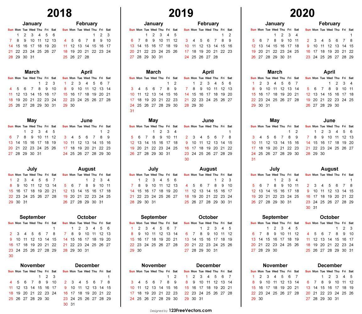 3 Year Calendar 2018 2019 2020 Printable | 2019 Calendar | Free for Free Printaabke Calendars For 2019-2020
