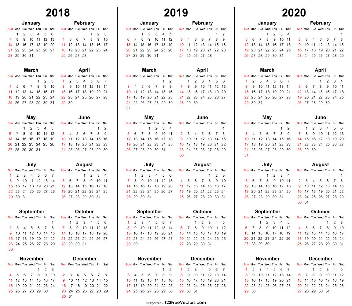 3 Year Calendar 2018 2019 2020 Printable   2019 Calendar   Free throughout 2020 Vertex Calendars Printable Free