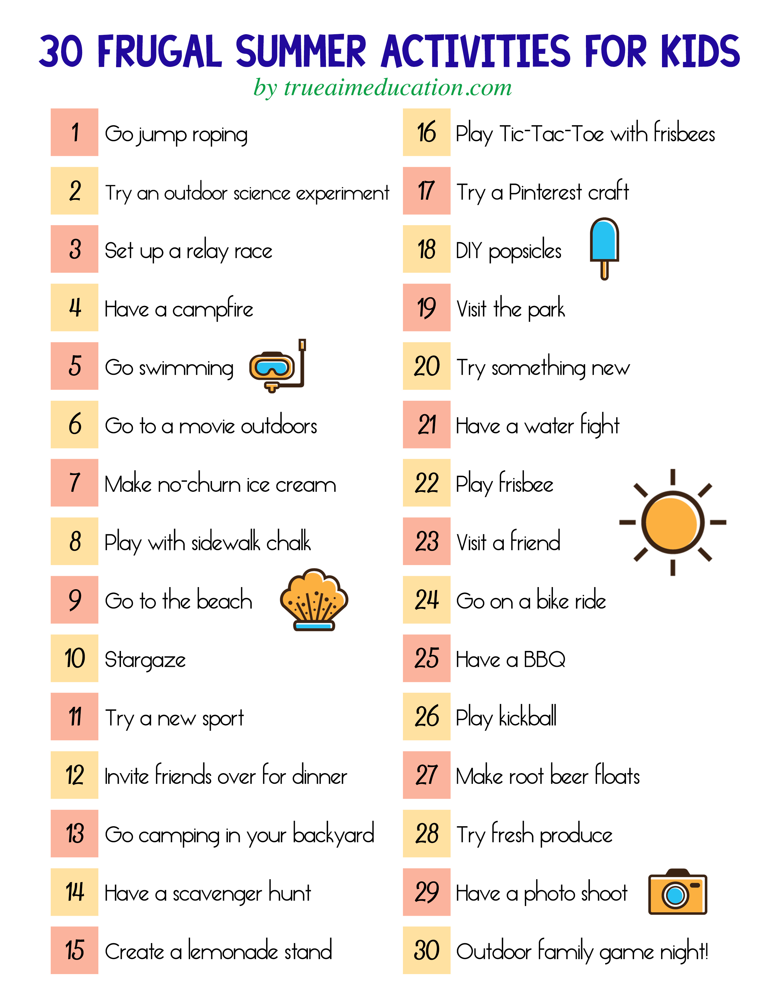 30 Frugal Summer Activities + A Free Printable within Summer Schedule Template For Kids