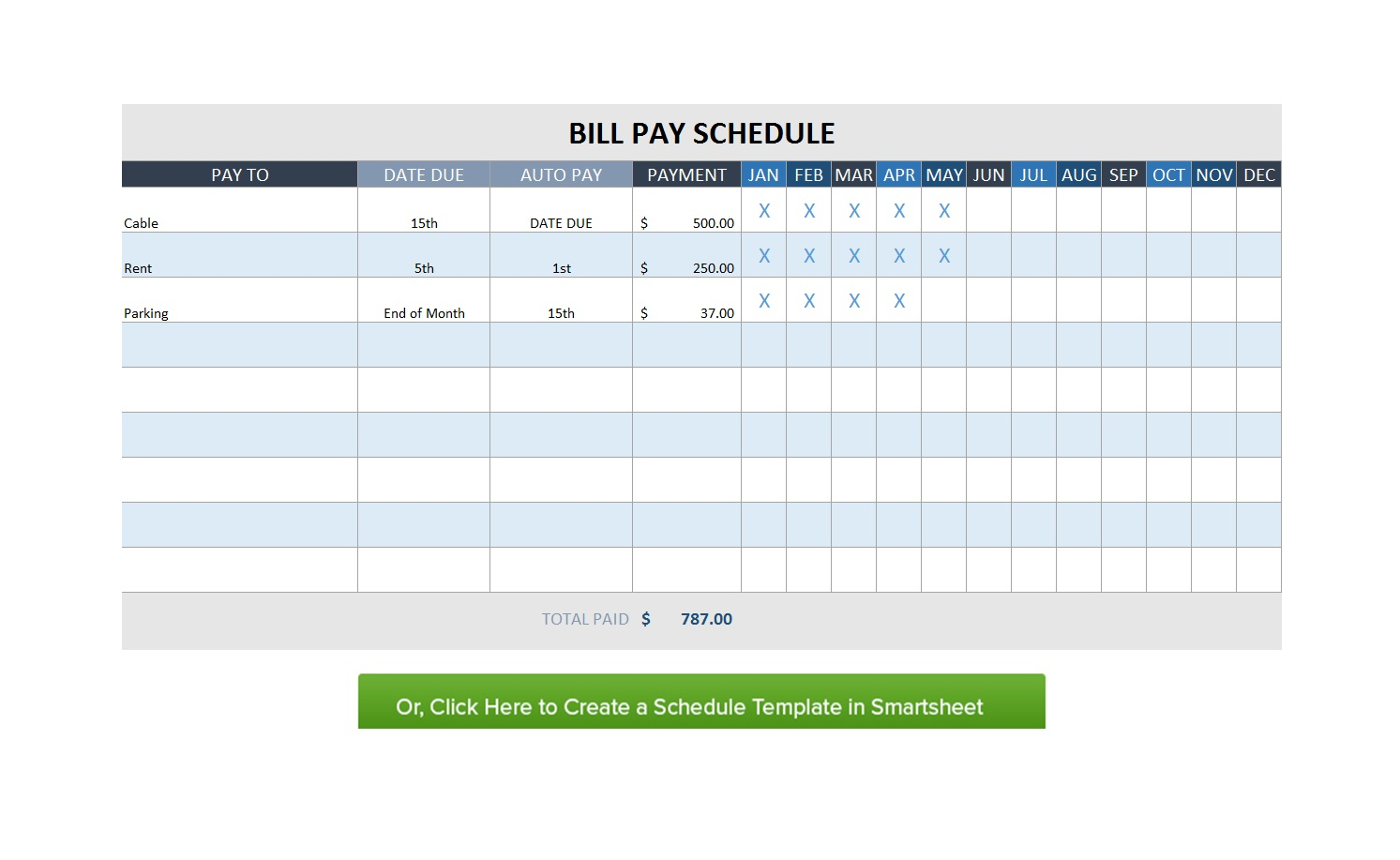 32 Free Bill Pay Checklists & Bill Calendars (Pdf, Word & Excel) for Salary And Bill Payment Schedule Template Printable