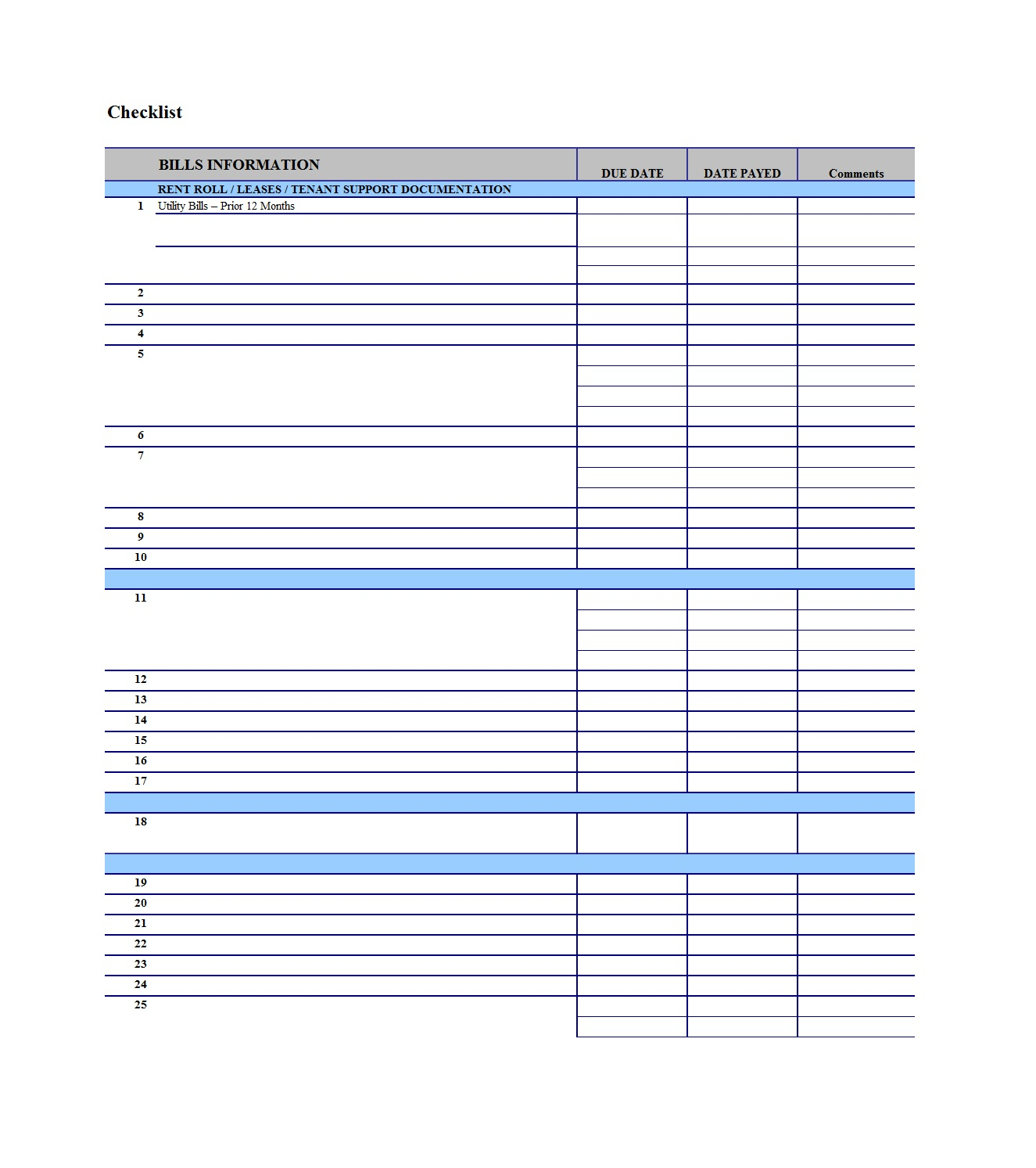 32 Free Bill Pay Checklists & Bill Calendars (Pdf, Word & Excel) pertaining to Free Printable Bill Payment Template
