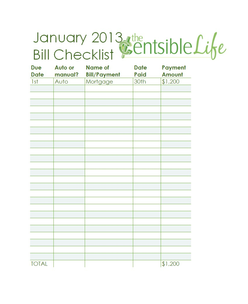 32 Free Bill Pay Checklists & Bill Calendars (Pdf, Word & Excel) throughout Free Printable Bill Payment Template