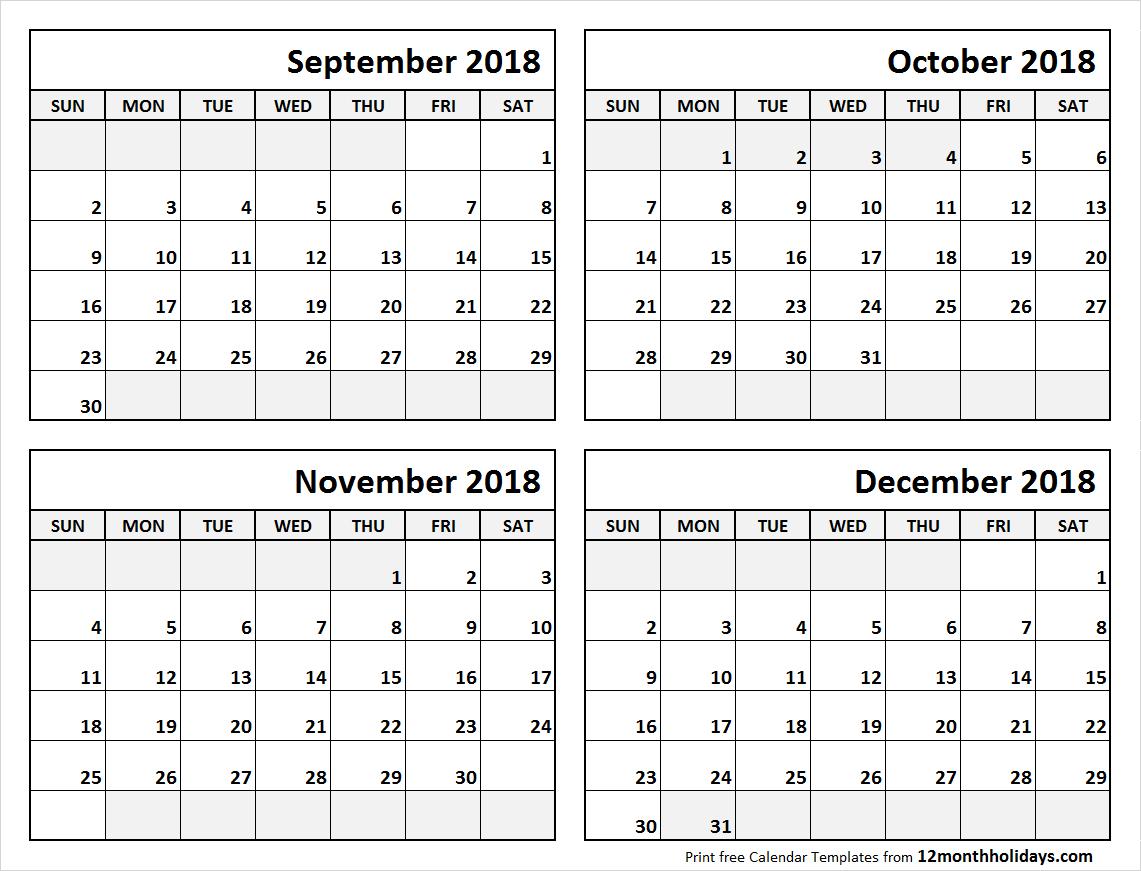 4 Month Calendar September To December 2018 | Calendars | Blank with 4 Month Blank Calendar Template