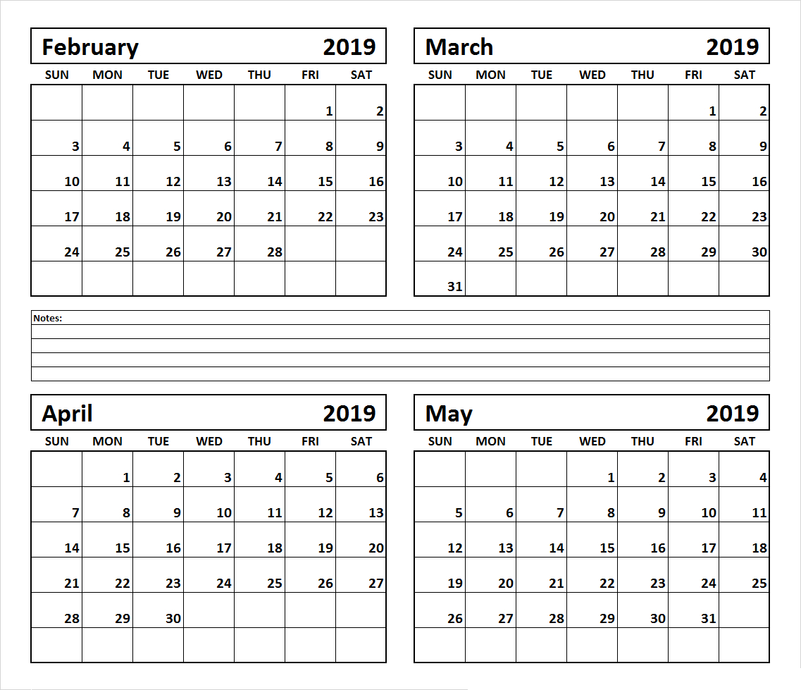 4 Month February March April May 2019 Calendar #march #april #may within 4 Month Blank Calendar Template