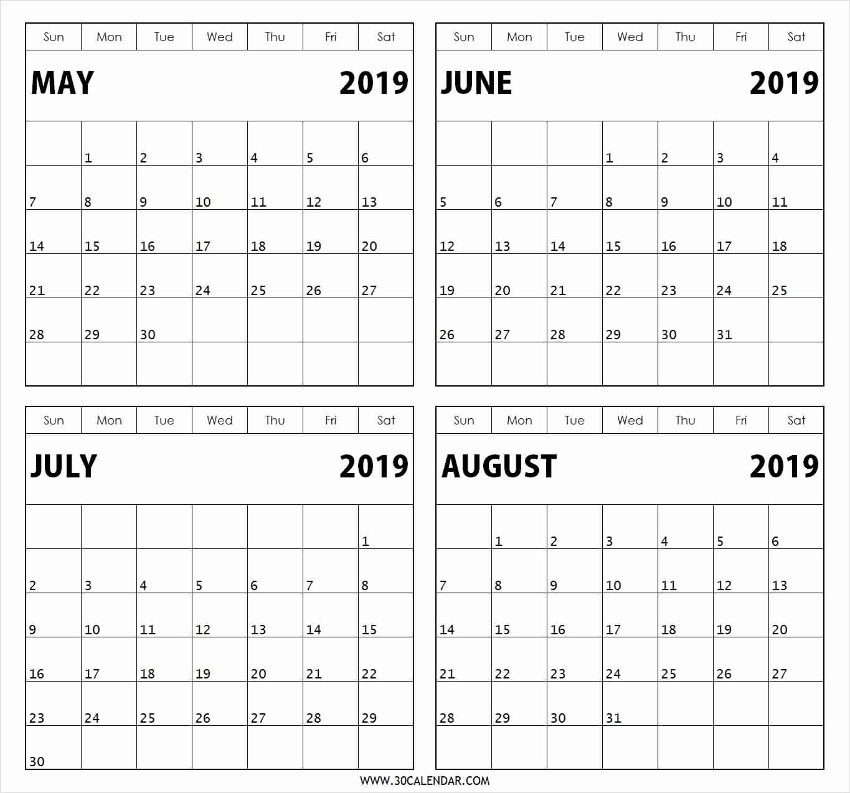 4 Month Free Calendar Template • Printable Blank Calendar Template within 4 Month Blank Calendar Template