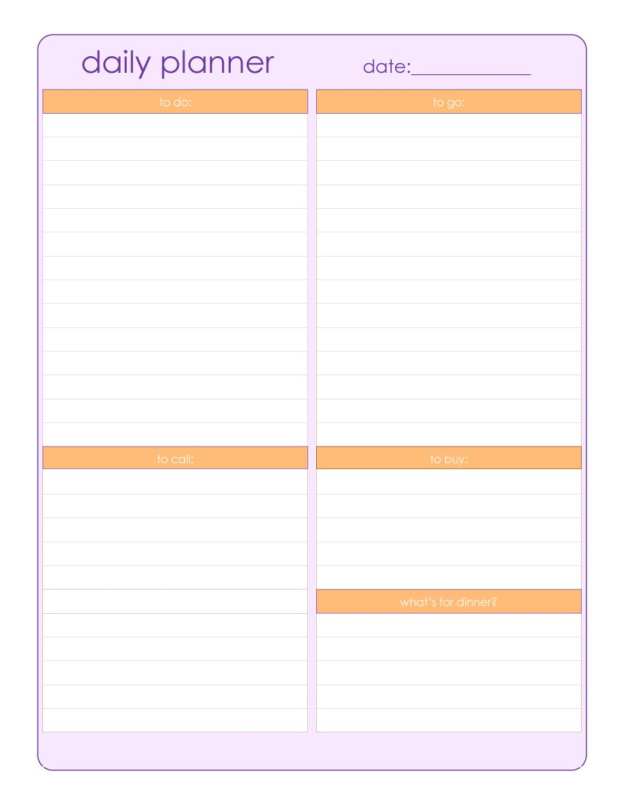 40+ Printable Daily Planner Templates (Free) ᐅ Template Lab in Free Blank Day Planner With A Timeline