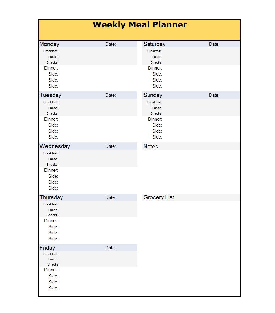 40+ Weekly Meal Planning Templates ᐅ Template Lab with 7 Day Meal Planner Template