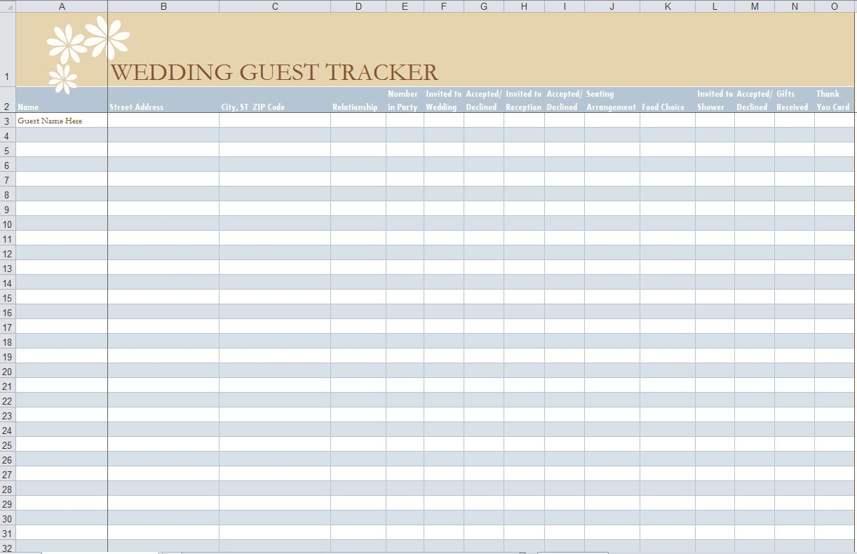 41 Free Guest List Templates - Word Excel Pdf Formats intended for Event Guest List Template Excel