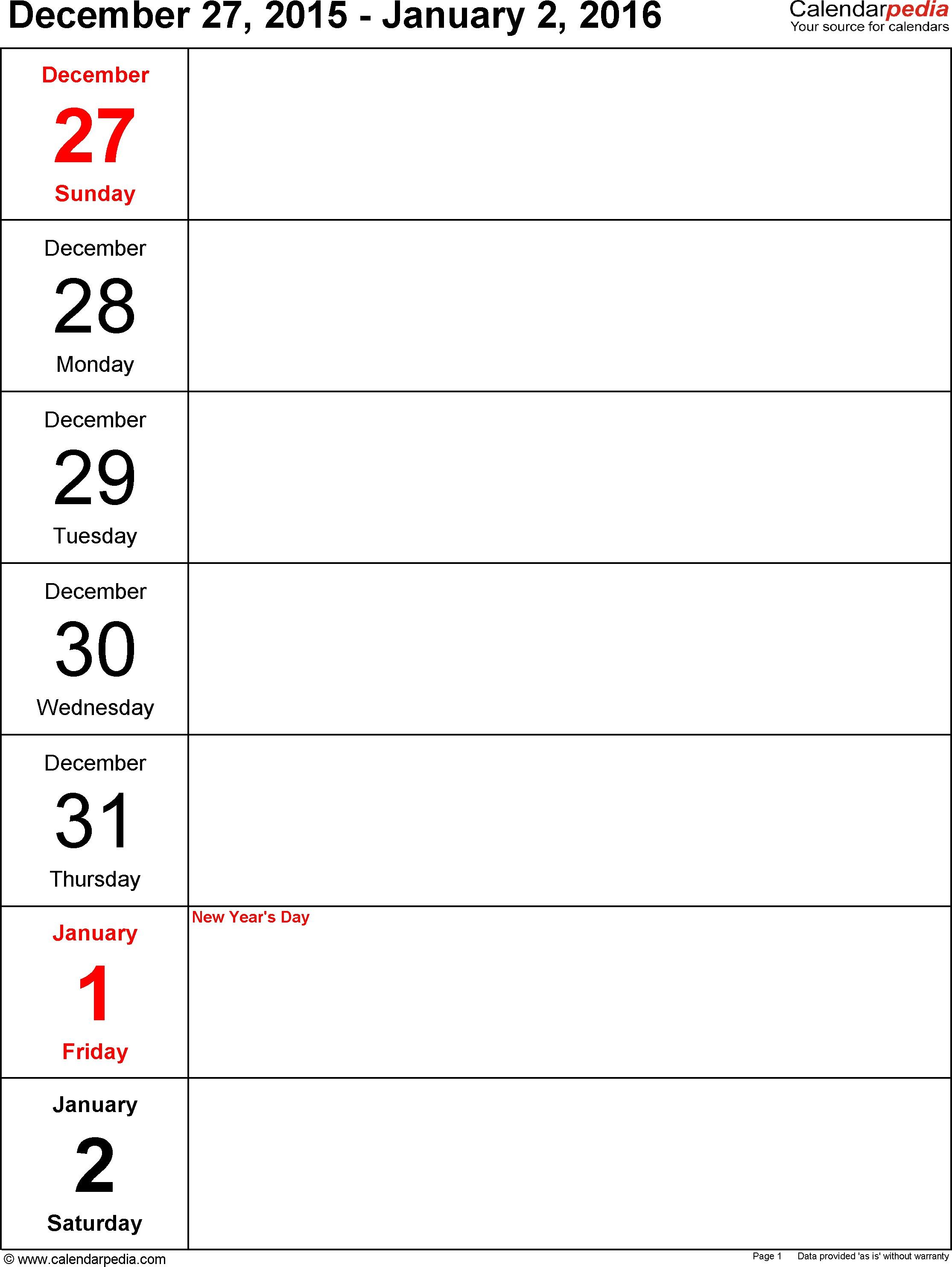 5 Day Printable Calendar Weekly Planner Calendar Template - Calendar with 5 Day Blank Calendar Template