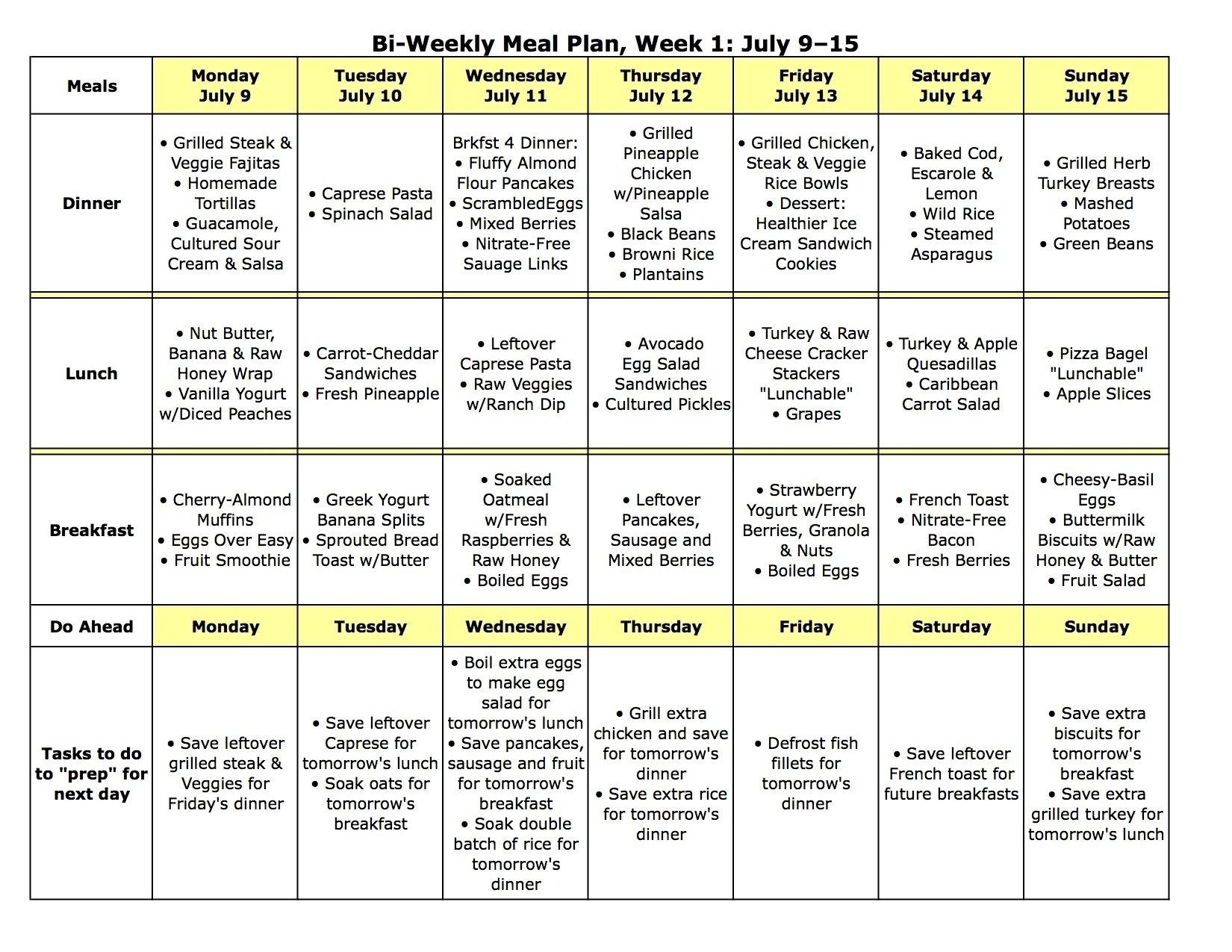 5 Week Lunch Menu Rotation Template   Template Calendar Printable in Monthly 5 Week Menu Rotation Template