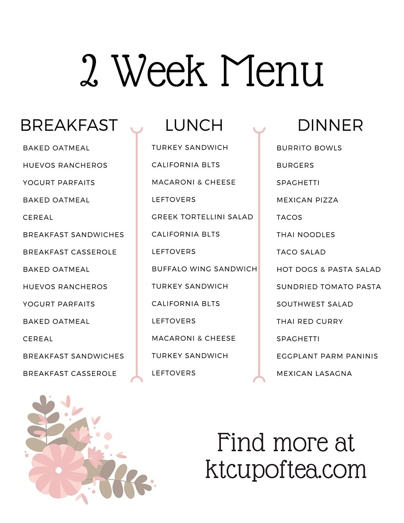 5 Week Lunch Menu Rotation Template | Template Calendar Printable regarding 5 Week Lunch Menu Rotation Template