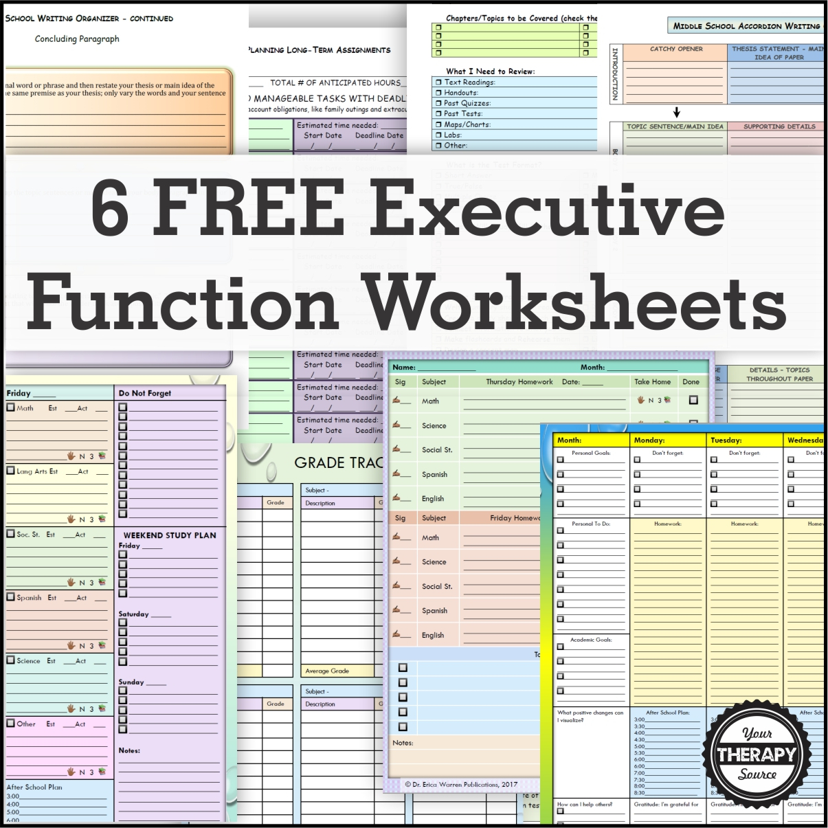 6 Free Executive Functioning Activity Worksheets - Your Therapy Source with regard to Homework Agenda Template 7Th Grade