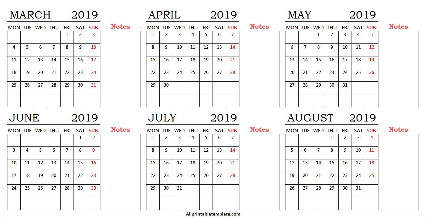6 Month Calendar March To August 2019 Free Template With Notes pertaining to Blank 6 Month Calendar