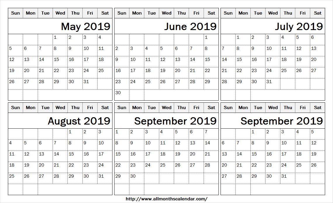 6 Month Calendar May To October 2019 Template | 2019 Calendar Sheet pertaining to Blank 6 Month Calendar