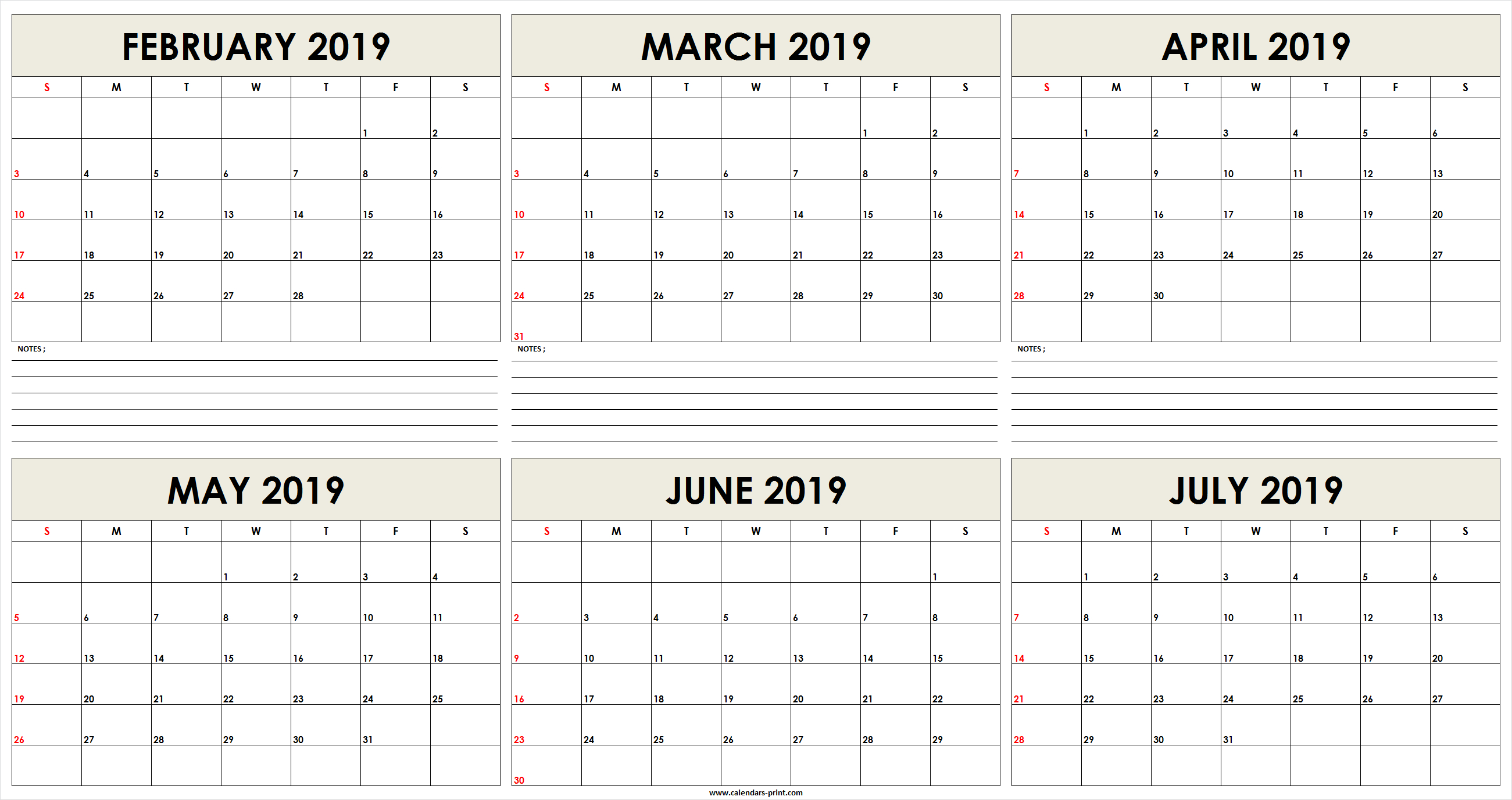 6 Month February 2019 To July 2019 Calendar Template - Free with Blank 6 Month Calendar