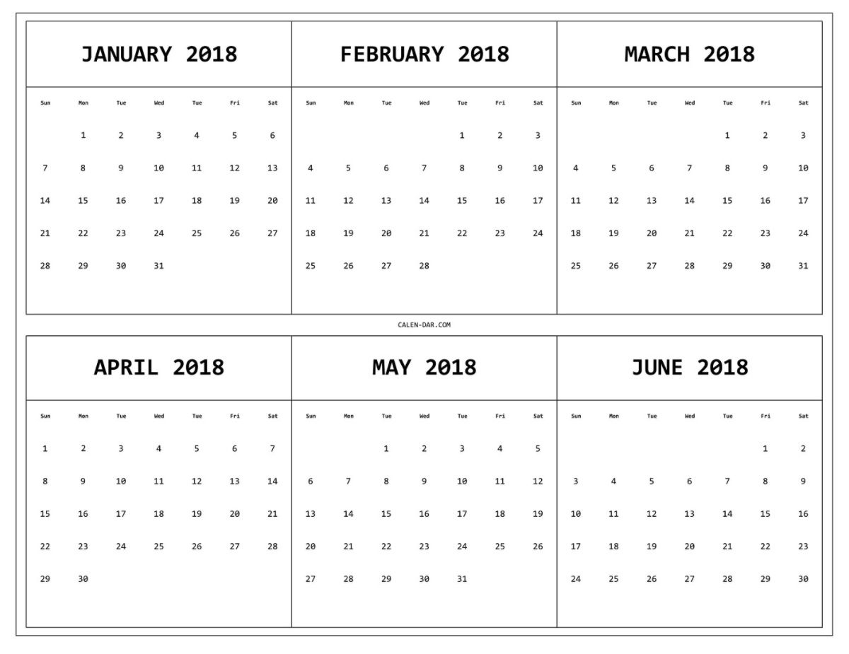 6 Month One Page Printable Calendar 2018 | Maxcalendars | Yearly in Blank 6 Month Calendar