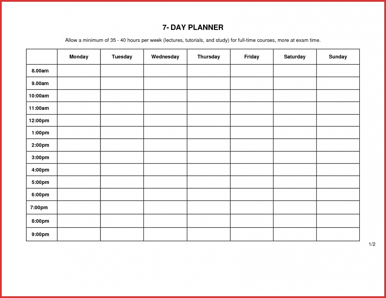 7 Day 12 Week Planner Blank | Template Calendar Printable intended for 12 Week Blank Calendar Printable