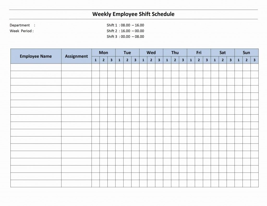 7 Day Employee Schedule Template | Blank Calendar Template 7 Day within Blank 7 Day Week Calendar