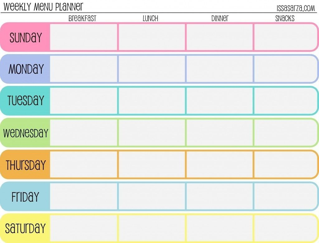 7 Day Weekly Planner Template - Yeniscale.co 7 Day Weekly Planner throughout 7 Day Meal Planner Template