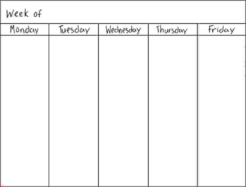7 Day Weekly Schedule Template Physicminimalisticsco 7 Day Weekly inside 7 Day Week Blank Calendar