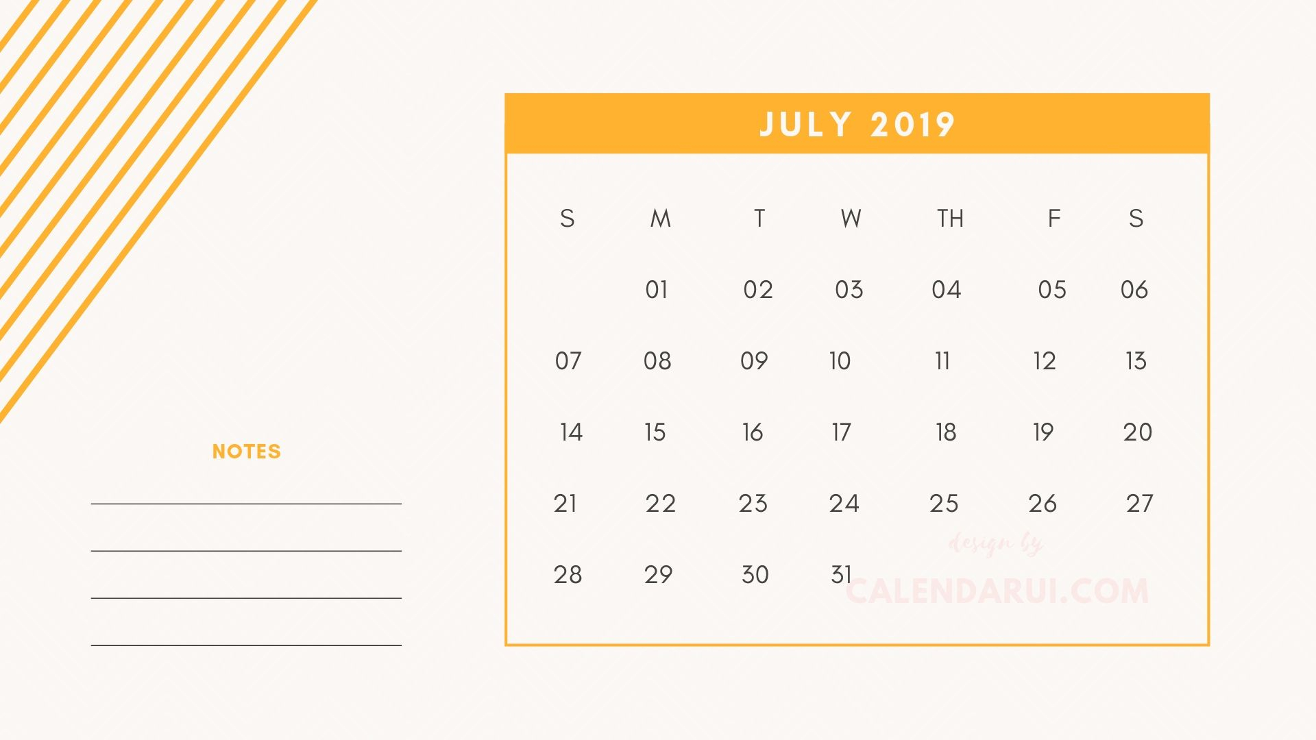 7 July Printable Mini Calendar 2019 Template With Notes Calendarui pertaining to Mini Blank June And July Calendar