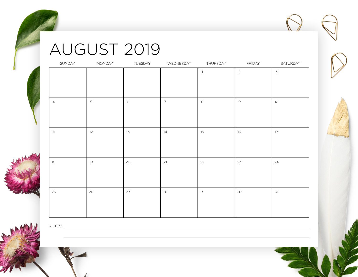 8.5 X 11 Inch 2019-2020 Calendar Template | Instant Download | Thin Sans  Serif Type Monthly Printable Minimal Wall Calender | Print Ready pertaining to 2020 Calendar 8.5 X 11