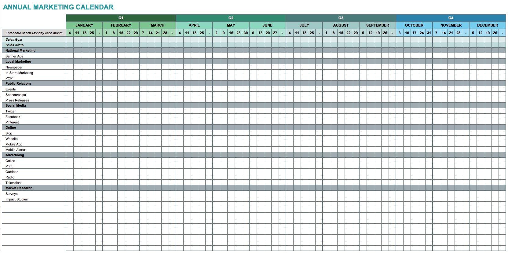 9 Free Marketing Calendar Templates For Excel - Smartsheet for Annual Calendar Template Excel