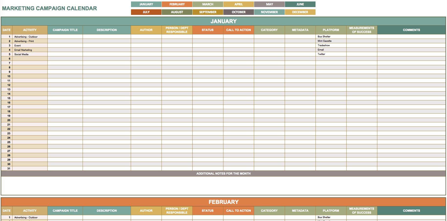 9 Free Marketing Calendar Templates For Excel - Smartsheet in Social Media Content Plan Excel Template Free