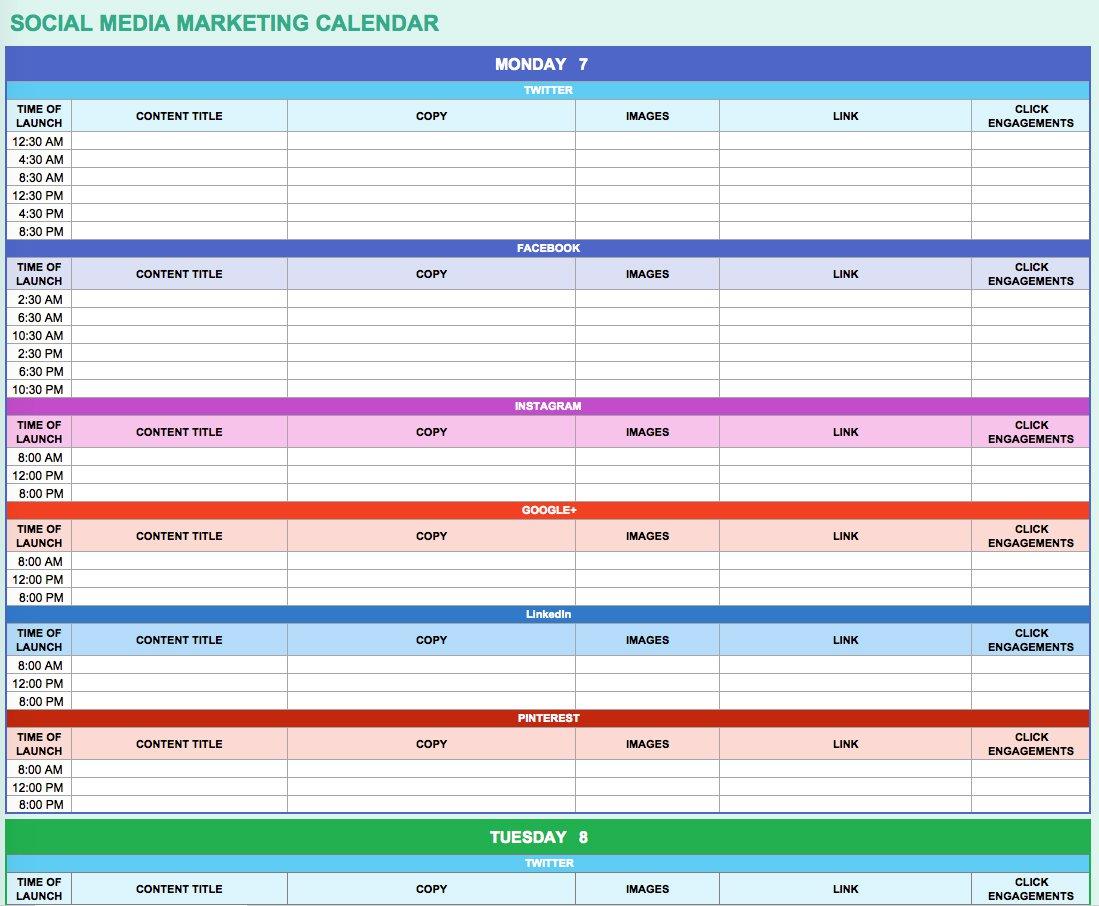 9 Free Marketing Calendar Templates For Excel - Smartsheet inside Social Media Calendar Template