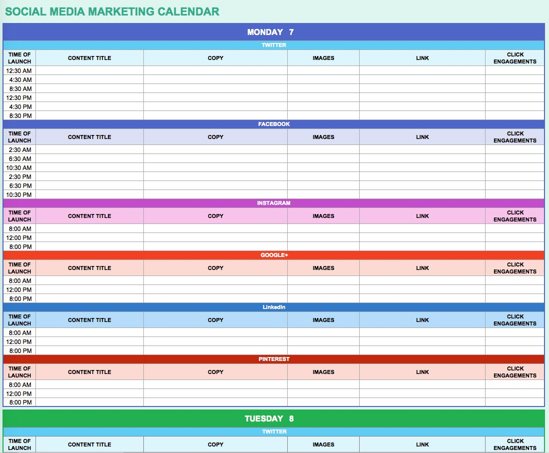 9 Free Marketing Calendar Templates For Excel - Smartsheet throughout Social Media Content Plan Excel Template Free