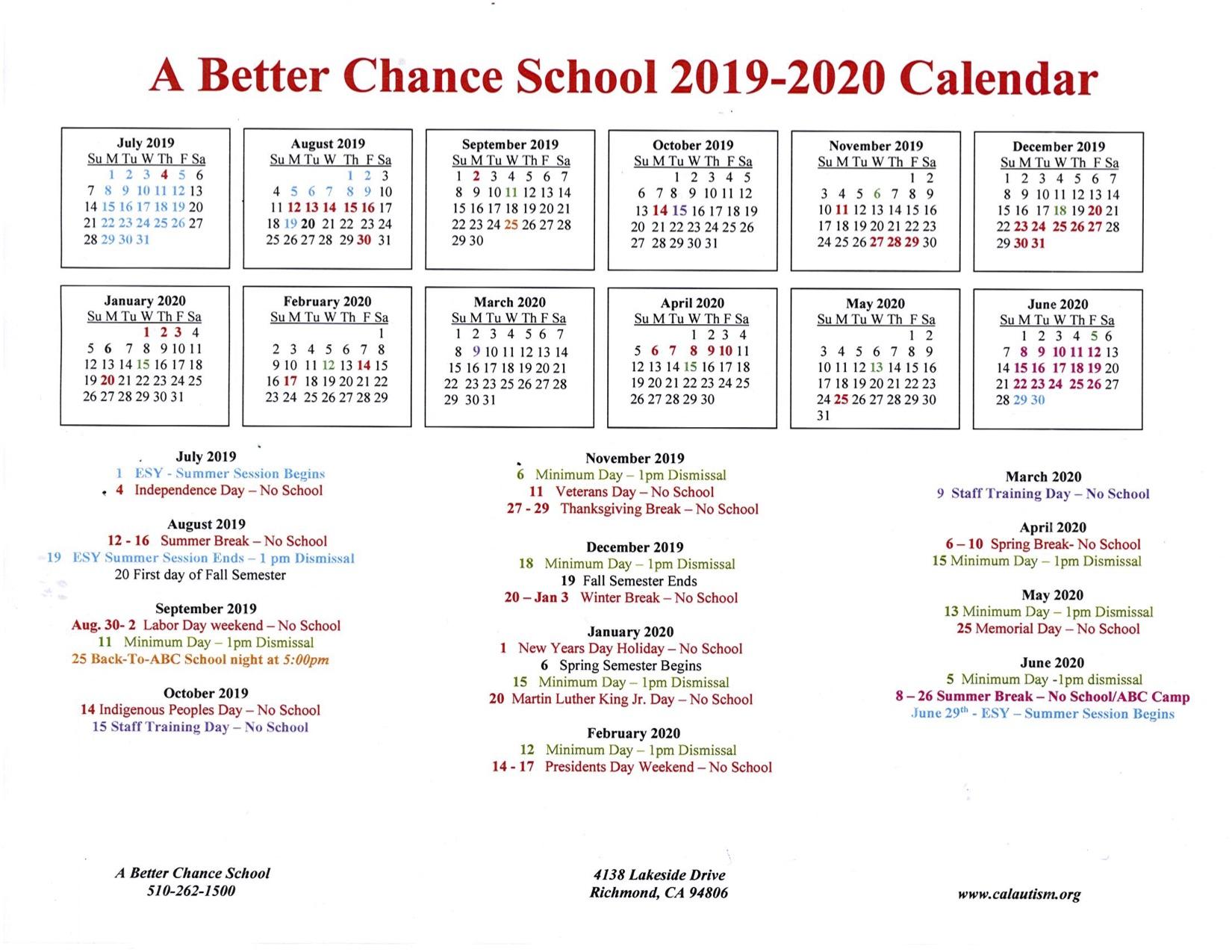 A Better Chance School 2019-2020 Calendar « California Autism Foundation for U Of M Calander 2019-2020