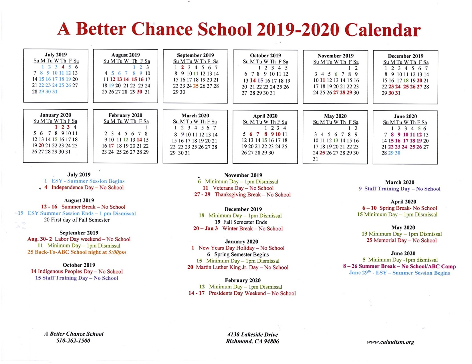 A Better Chance School 2019-2020 Calendar « California Autism Foundation inside U Of R Calendar 2019-2020