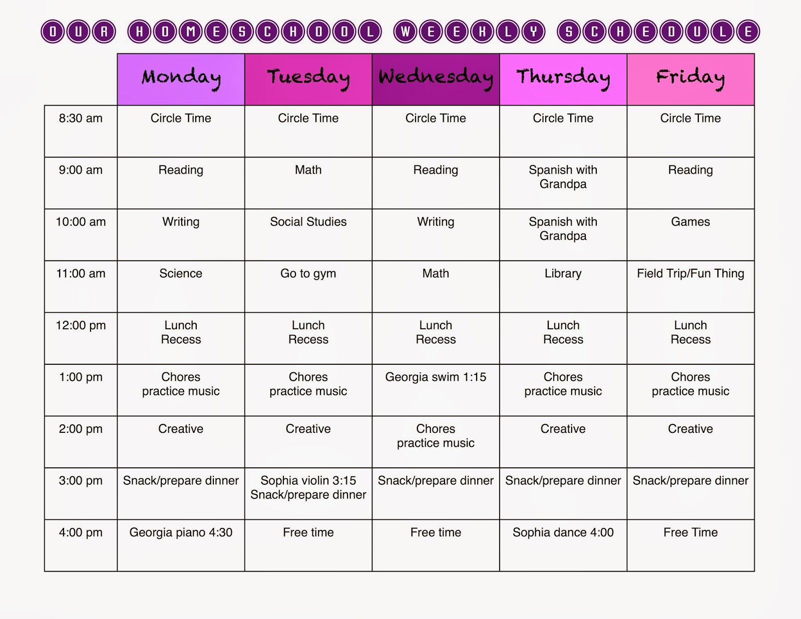 A Marmie Life: Homeschool Weekly Schedule And A Free Template inside Free Template For Weekly Schedule