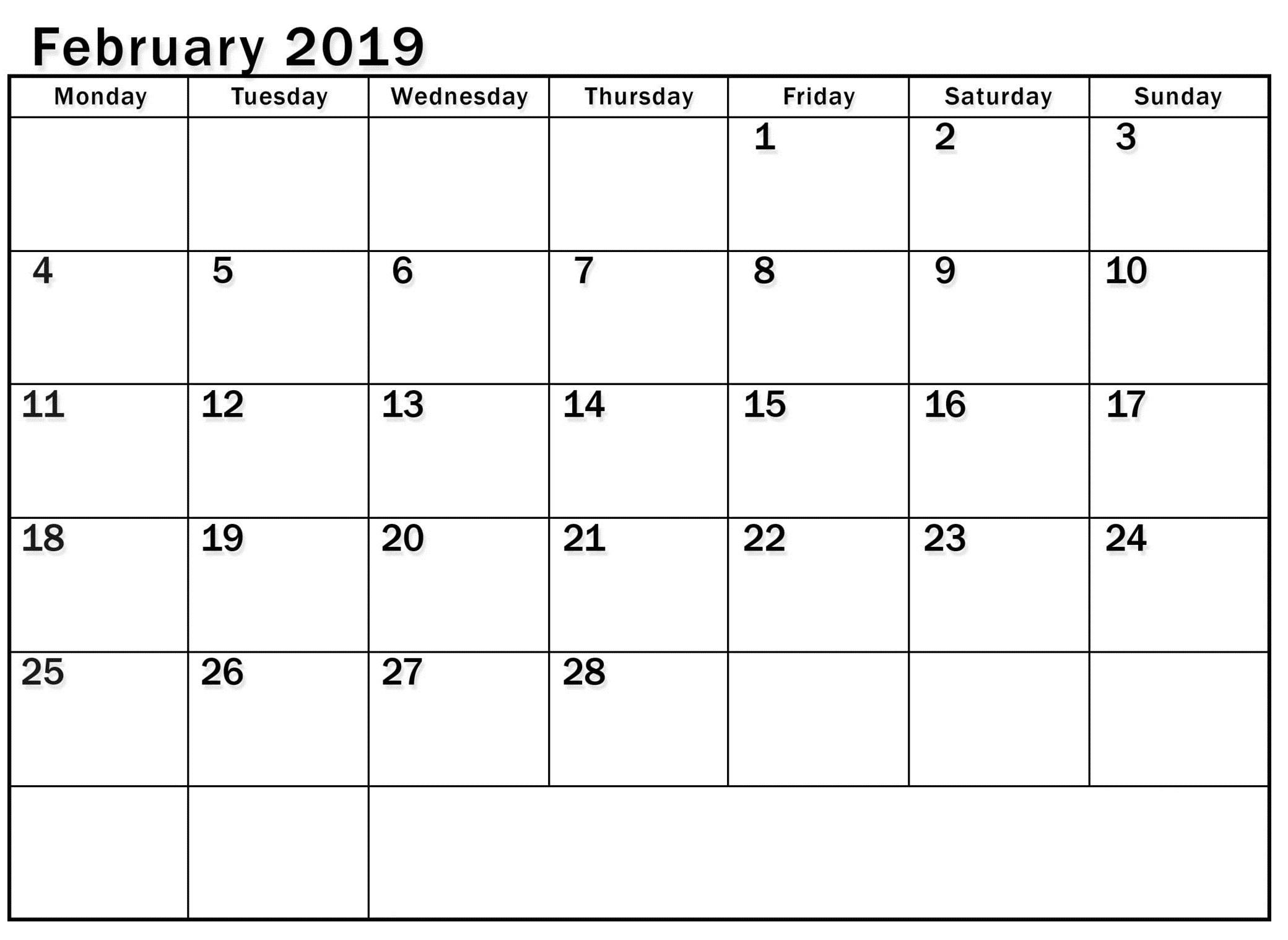 A3 Calendar For February 2019 - Printable Calendar Templates throughout A3 Calendar Template Printable