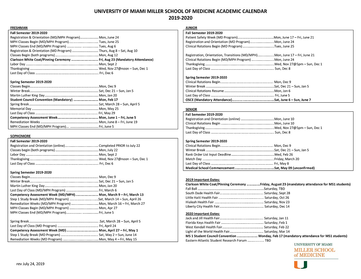 Academic Calendar: 2019-2020 - Miller School Of Medicine Admissions intended for U Of M School Year 2019-2020
