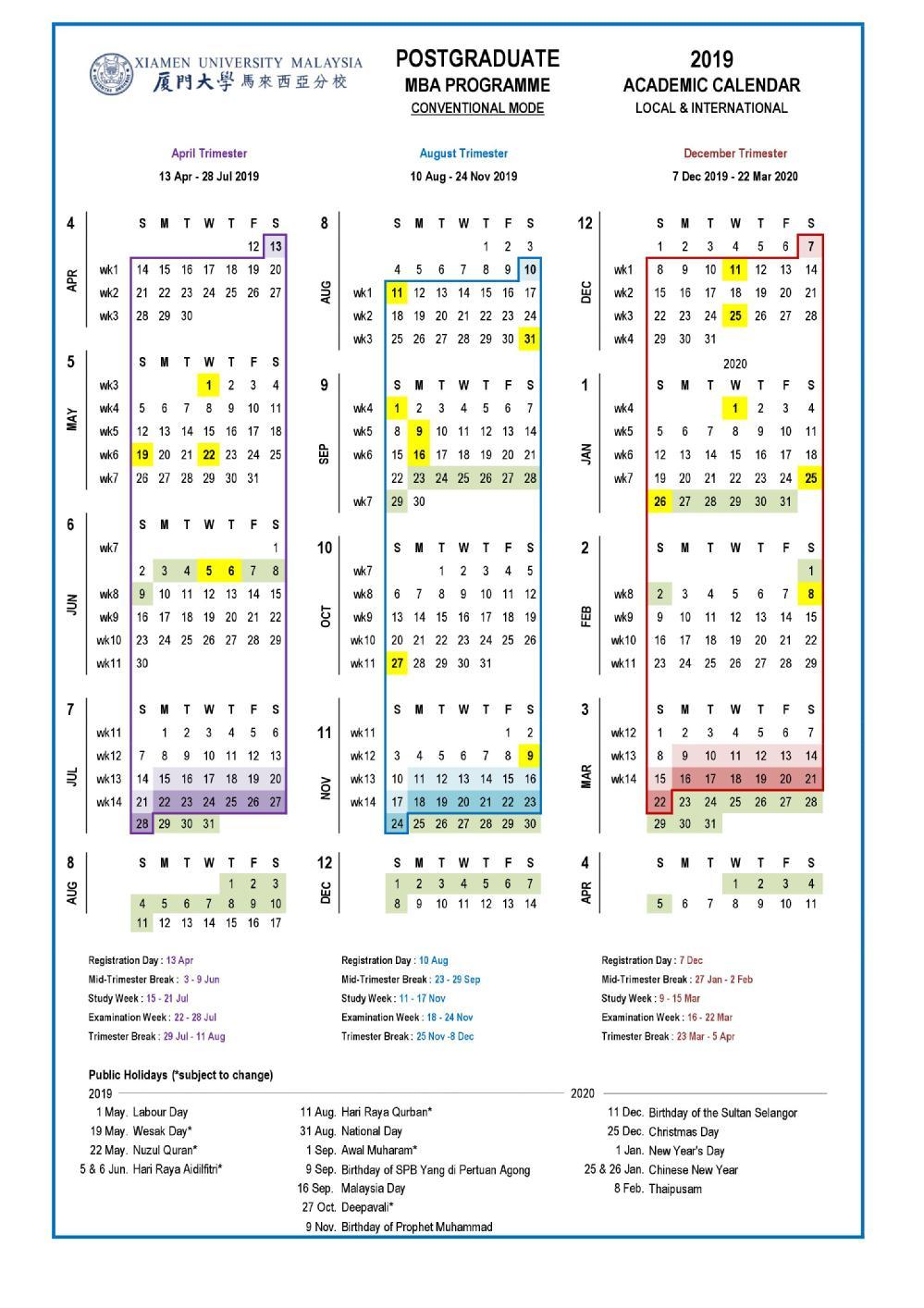 Academic Calendar & Courses with regard to U Of M 2019 2020 Calendar