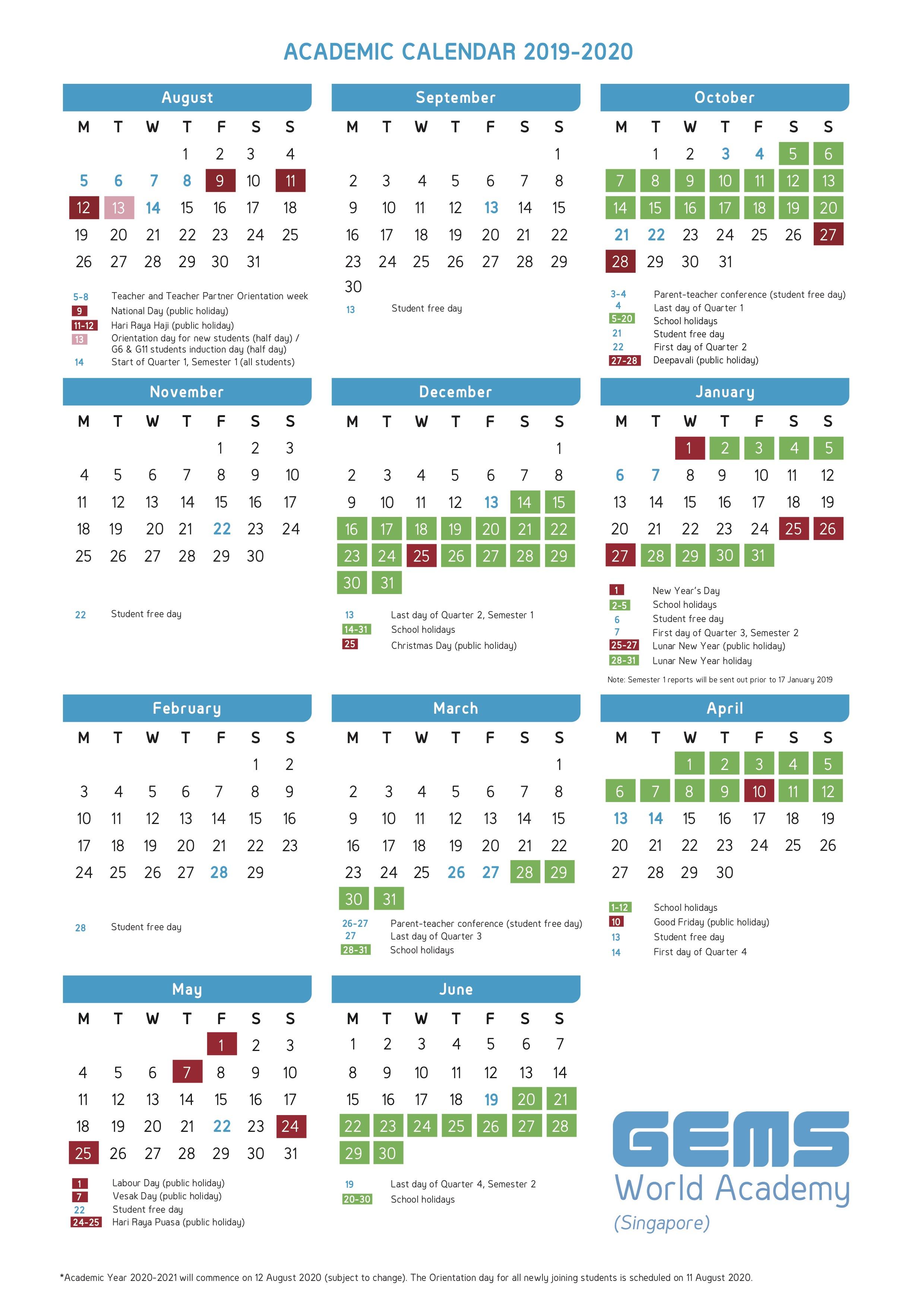 Academic Calendar | Gems World Academy (Singapore) intended for U Of M 2019 2020 Calendar