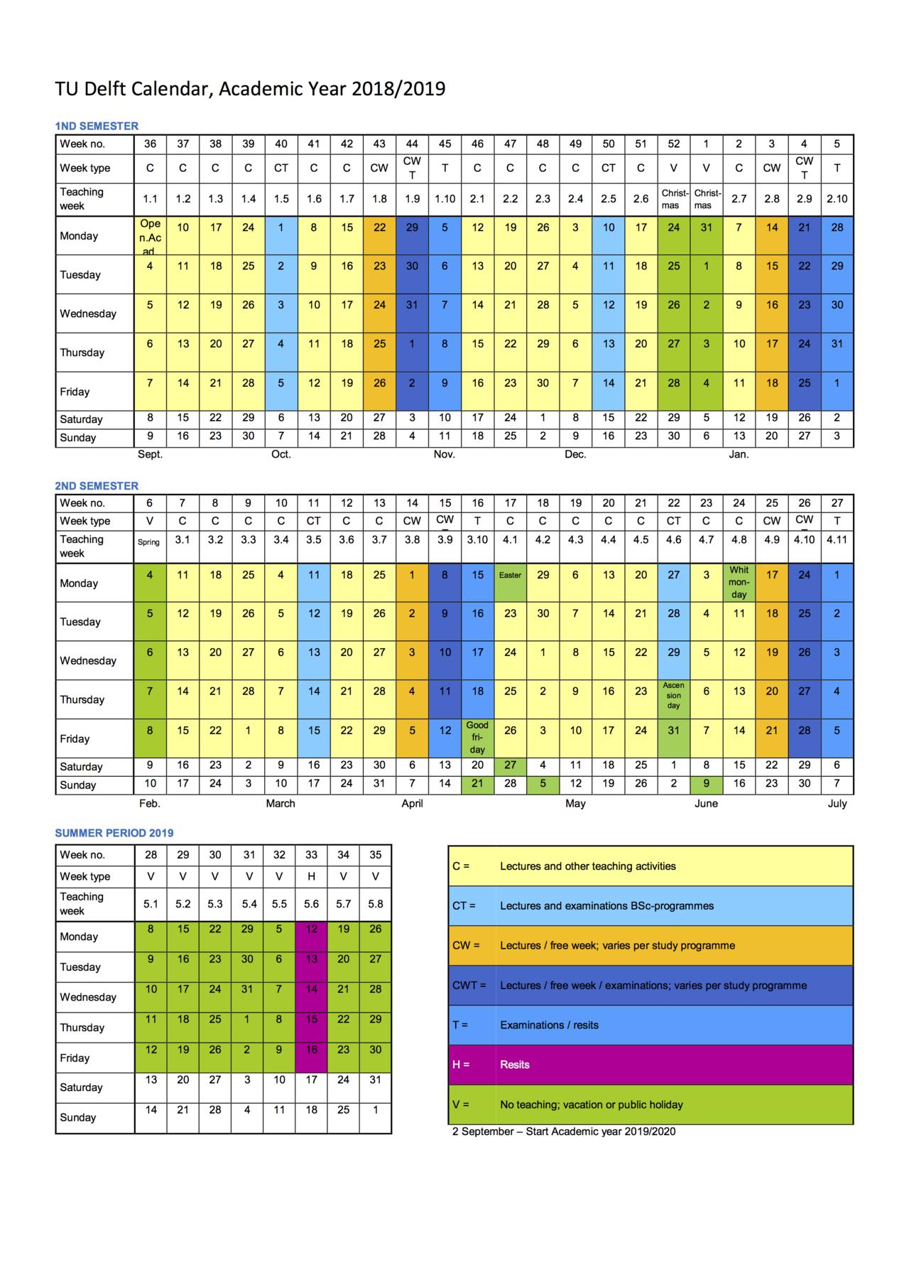 Academic Calendar inside U Of M School Year 2019-2020