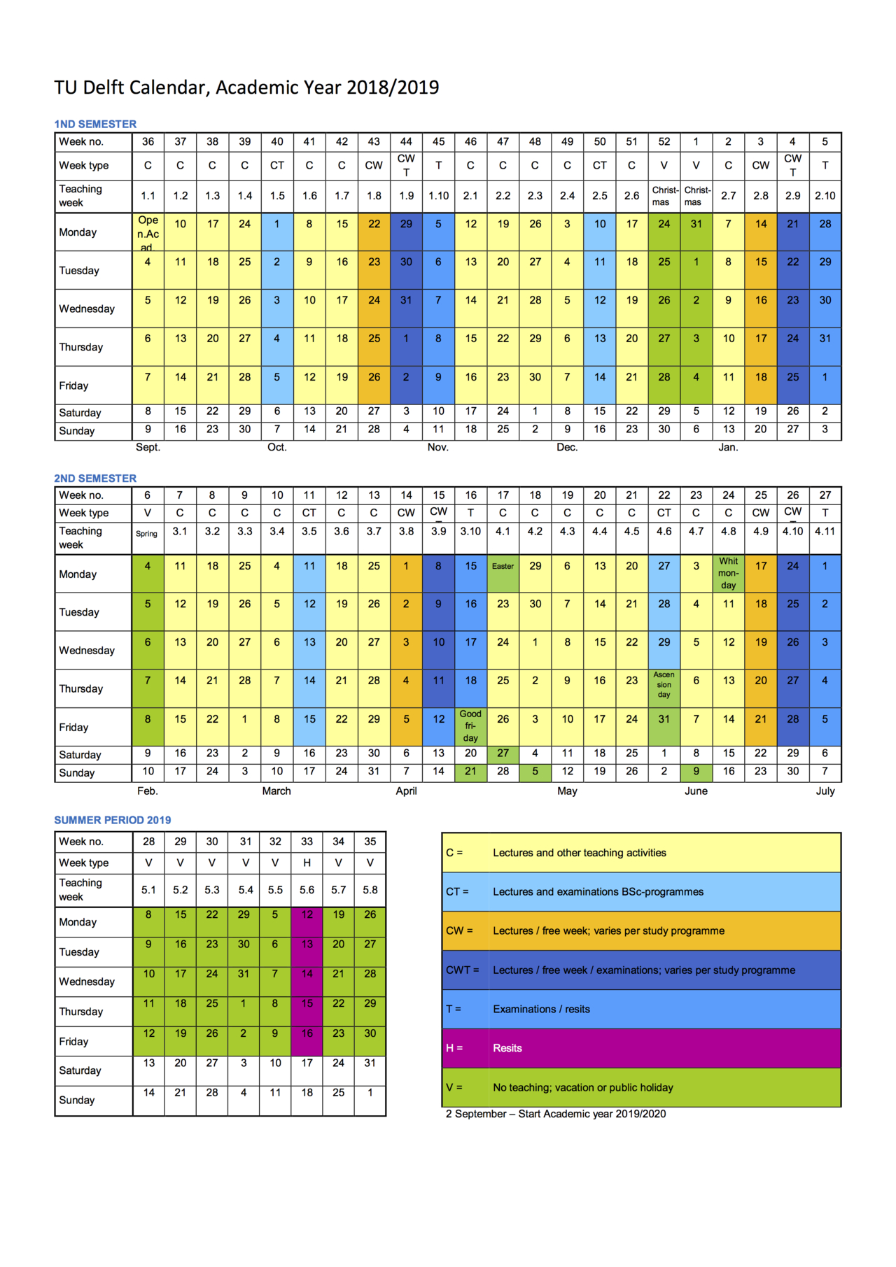 Academic Calendar pertaining to Tu Delft Time Table Boukunde 2020