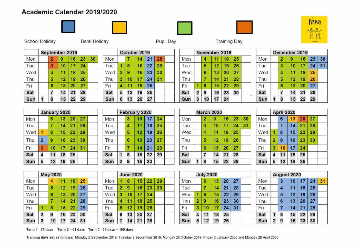 Academic Calendar - Pippin Pre-School for Calendar With Special Days 2020