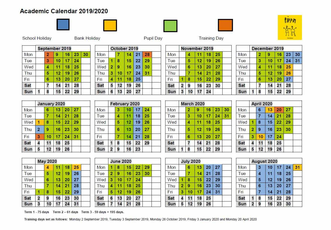 Academic Calendar - Pippin Pre-School with regard to Calendar With All The Special Days In 2020