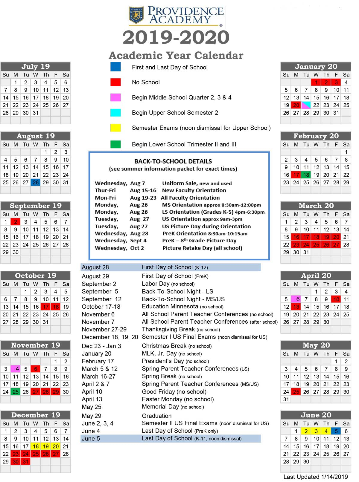Academic Calendar - Providence Academy for U Of M School Year 2019-2020