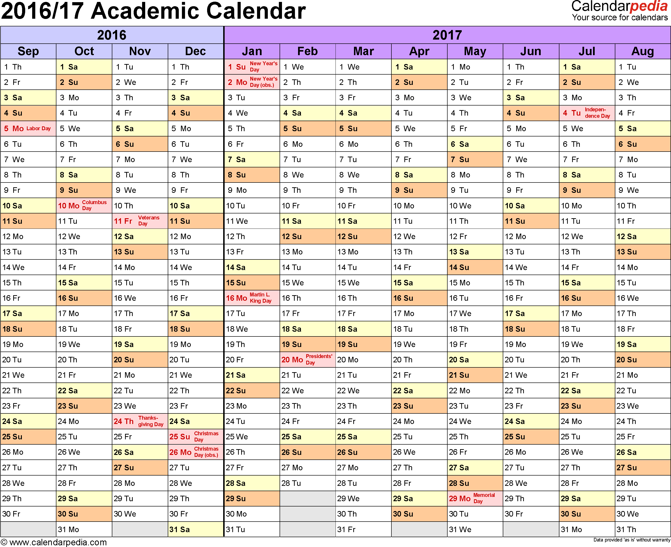 Academic Calendars 2016/2017 - Free Printable Word Templates in Academic Calendar Template