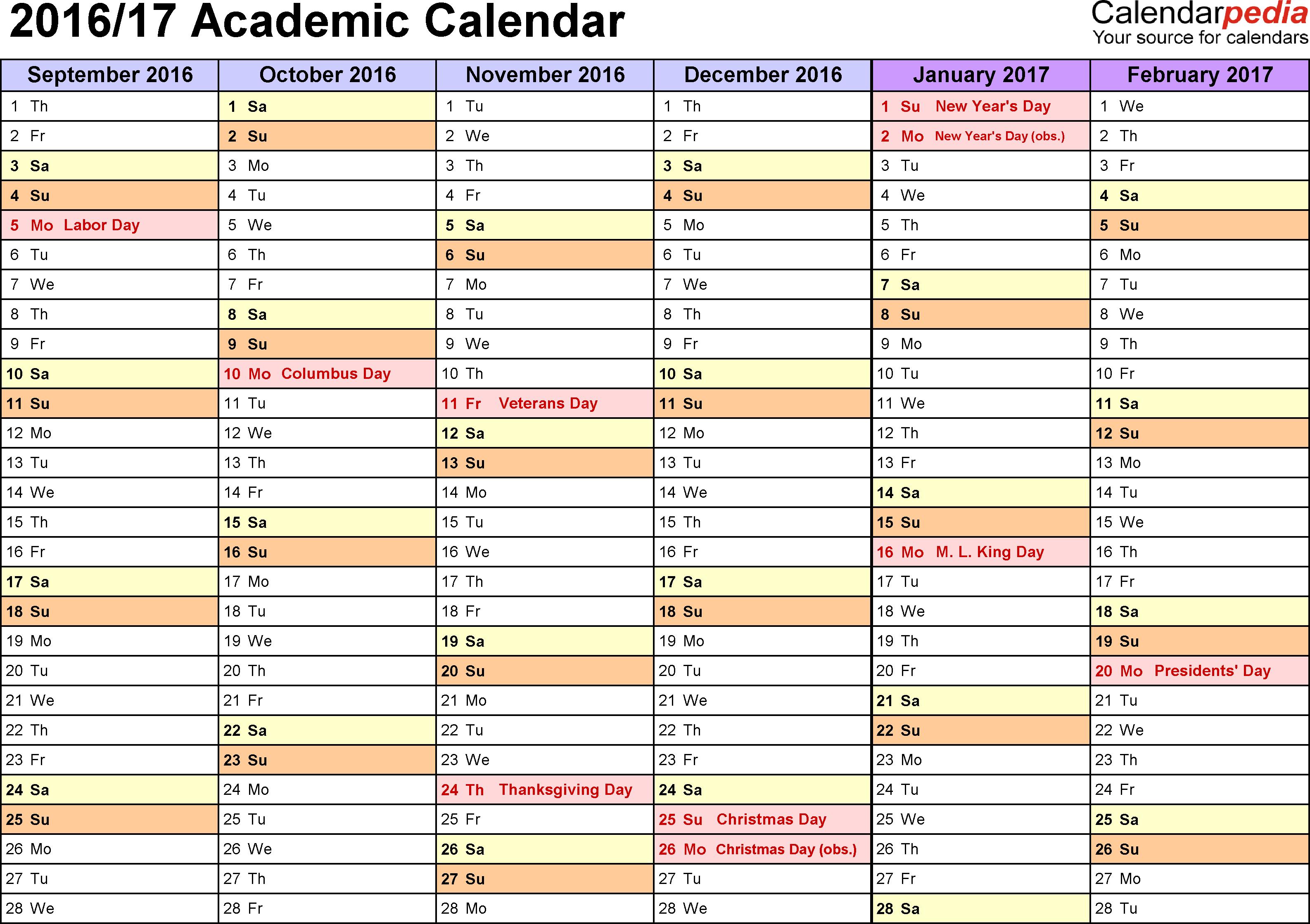 Academic Calendars 2016/2017 - Free Printable Word Templates regarding Template Academic Calendar With Notes