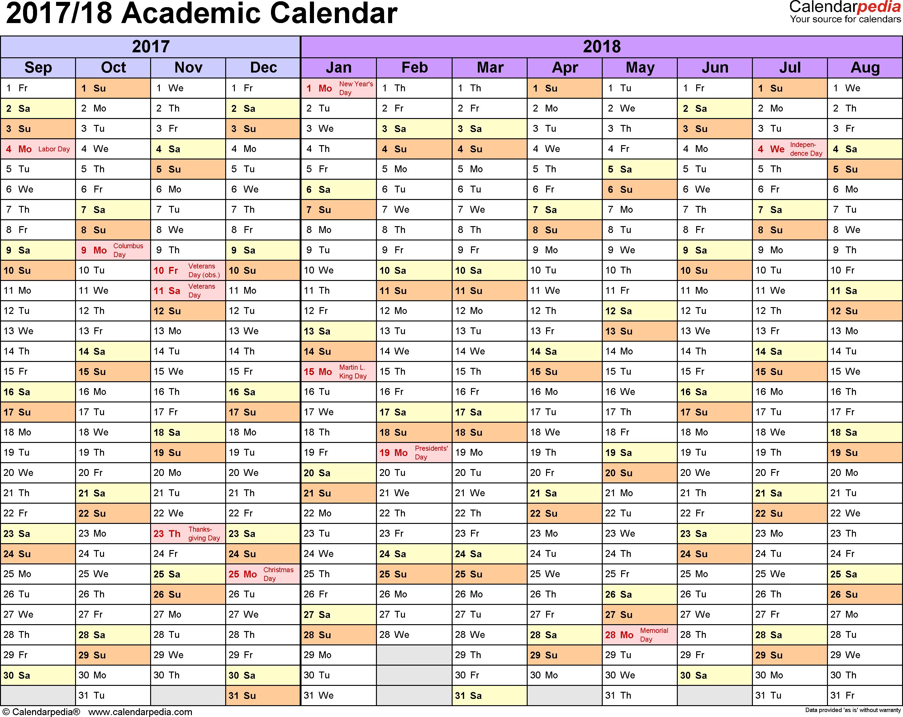 Academic Calendars 2017/2018 - Free Printable Excel Templates inside Template Academic Calendar With Notes
