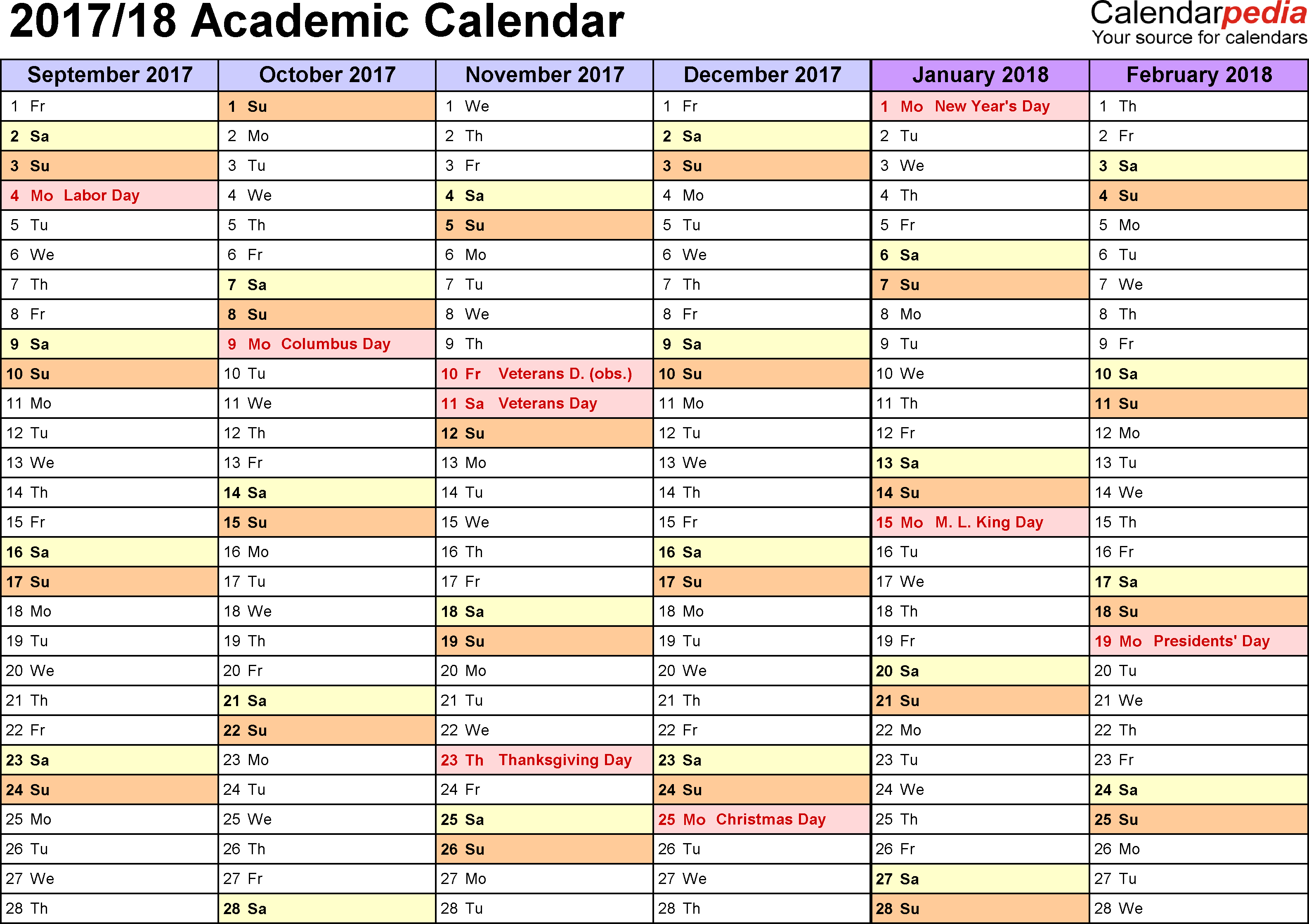 Academic Calendars 2017/2018 - Free Printable Excel Templates with Calendar Blank Planner Months 18 School Year