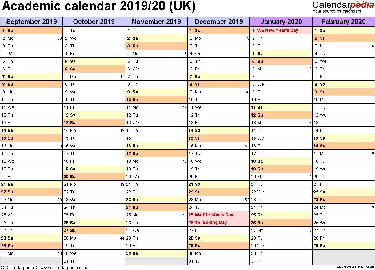 Academic Calendars 2019/2020 As Free Printable Word Templates inside Free Printable 2019-2020 Academic Calendar