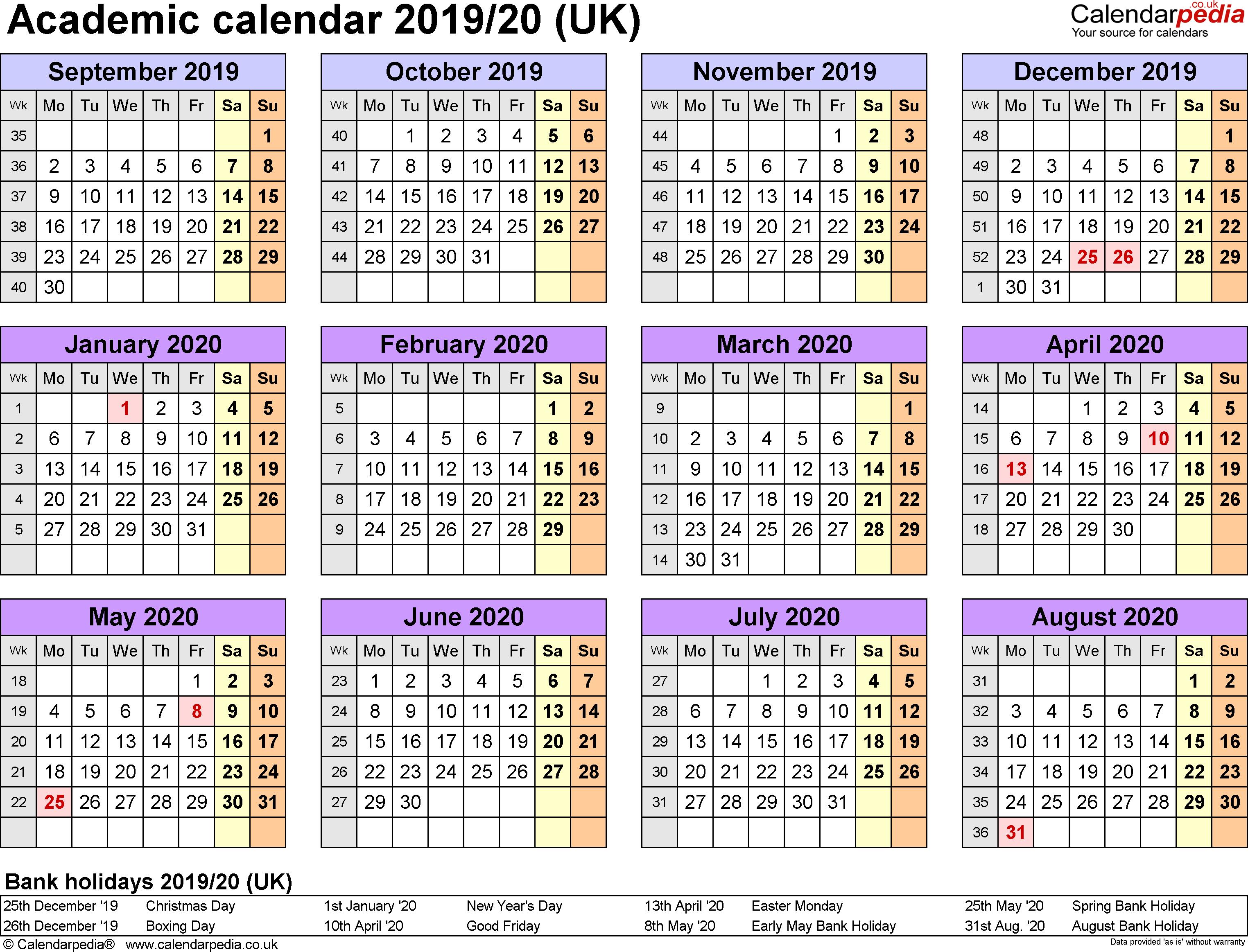 Academic Calendars 2019/2020 As Free Printable Word Templates regarding Printable Year Calendar 2019 - 2020 With Space To Write